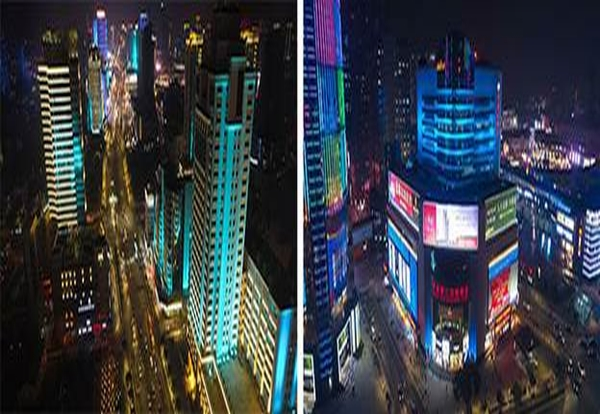 Chinese city skyscrapers become art with smart city lighting