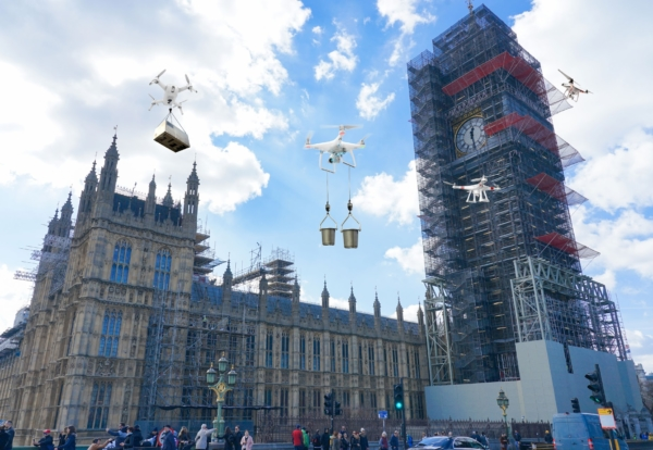 Drones to move construction materials around sites