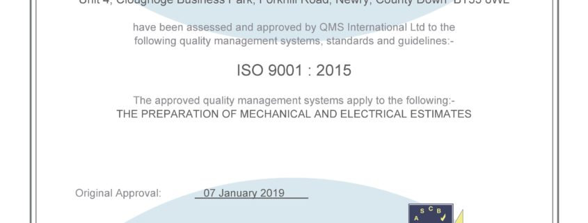 HCL Estimating - ISO 9001 Certificate